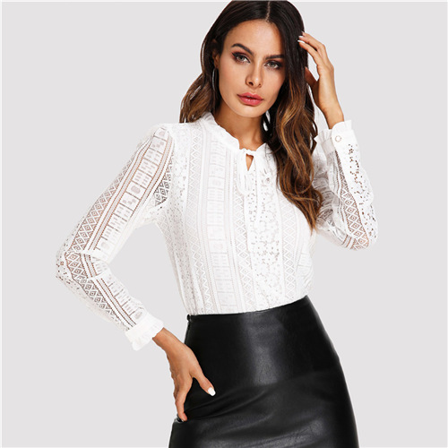 Fashion Style Newbestyle Women Summer Tops Elegant Work Women Blouses Cap Sleeve Black And White Tie Neck Short Sleeve Workwear Striped Blouse Women's Clothing