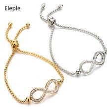 Eleple Telescopic Adjustment Bracelets for Women Titanium Steel 8 Word Bow Zircon Inlay Anniversary Gift Lady Hand Jewelry S-B53