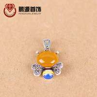 925 Sterling Silver Marcasite Silver Pendant Folk Style Bee Xiang Shipin Huang Yusui Enamel Crystal Necklace