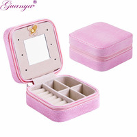 Guanya Brand Mini Travel Portable Leather Earrings Ring Jewelry Packaging Box Makeup Case Organizer Container Girl