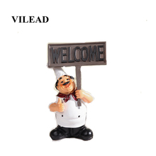 VILEAD 20cm Resin Kitchen Figurines Hand Hold Welcome Message Board Decoration Creative Restaurant Ornament Gift European Crafts