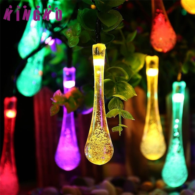 kingko solar powered 20led drop string light outdoor christmas party garden decor wedding holiday lighting l7106