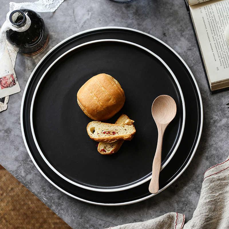 ANTOWALL домашнее круглое блюдо для стейков керамическая японская столовая посуда для завтрака плоская тарелка мелкое блюдо ресторан гостиничный поддон