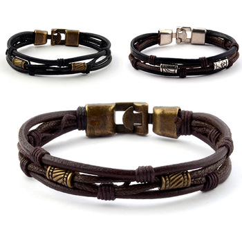 Mossovy European Style Leather Layered Bracelet Mens Minimalist Jewellery Fashion Man Bracalet Accessories Bijoux