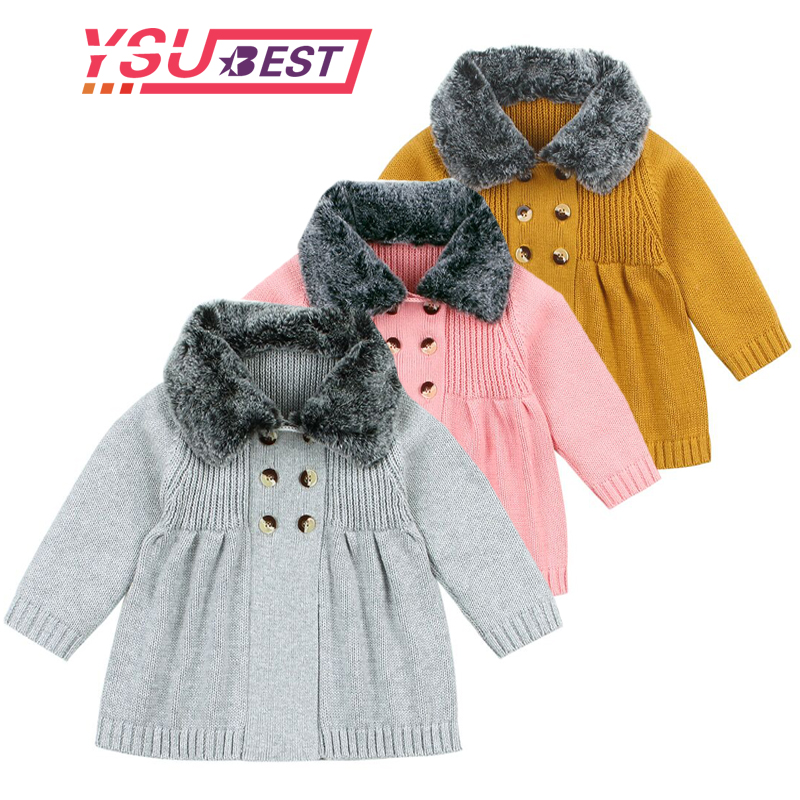 2019 Baby Sweater Boys Cardigan Autumn Winter Fur Collar Knitted Baby Boys Jacket Coat Toddler Kids Cardigan Boys Baby Pullover