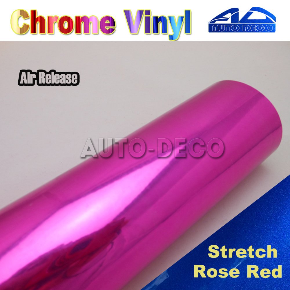 Mirror Chrome Vinyl Car Wrap Rose Red Auto Deco Sticker Film Car Color Transform Foil With Air Bubble Free size:1.52*20m/roll quality guarantee silver chrome vinyl film for car wrapping sticker with air bubble free 20m roll