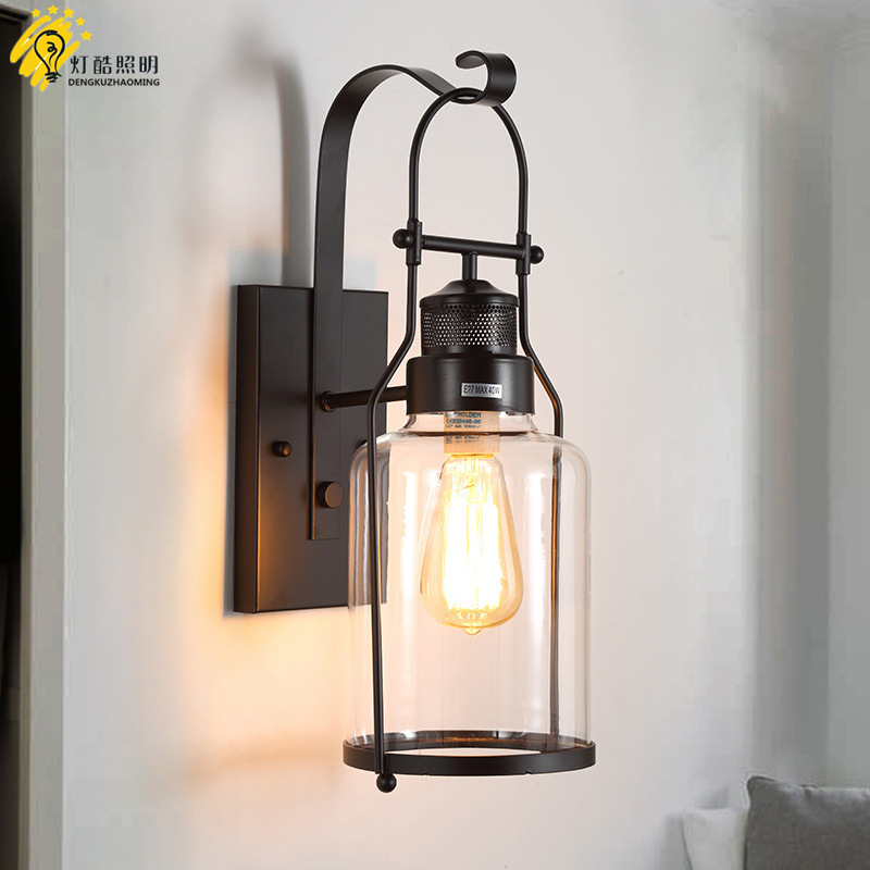 Loft American style country character retro industrial wind glass wall lamp aisle cafe bar outdoor lighting american country industrial glass pot pendent lamp