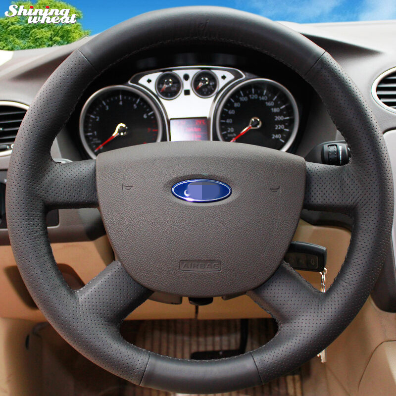 Skinnende hvede Håndsømmet sort læderbil ratdæksel til Ford Focus 2 2005-2011