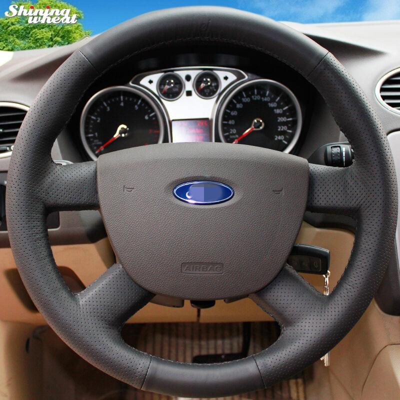 Shining ցորենի ձեռքով կարված սև կաշվե մեքենայի ղեկի կափարիչը Ford Focus 2– ի համար 2005–2011թթ