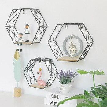 木材鉄アート六角形グリッド壁棚コンビネーションウォール幾何学的図形壁の装飾リビングルームのベッドルーム