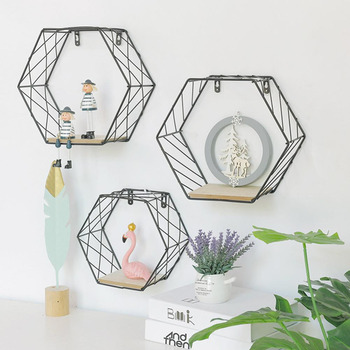Wood Iron Art Hexagonal Grid Wall Shelf Combination Wall Hanging Geometric Figure Wall Decoration For Living Room Bedroom
