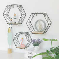 Wood Iron Art Hexagonal Grid Wall Shelf Combination Wall Hanging Geometric Figure Wall Decoration For Living Room Bedroom