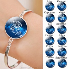 12 Zodiac Sign Bracelet Chain Glass Cabochon Jewelry Leo Taurus Constellation Silver Bangle Women Birthday Gifts Dropshipping
