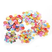 100 Pcs 2 Holes Flatback Scrapbook Knopf Bouton Appliques 9-20mm Random Mixed Assort Buttons Resin Painting Sewing Buttons