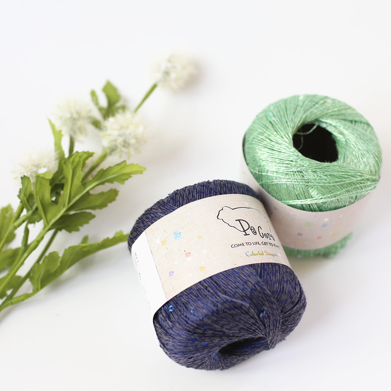 Free shipping 240g(40g*6pcs) Linen thread Hand Knitting Yarn Weave Spring Summer Linen Mercerized Sequins Wool Fine Wool Croche