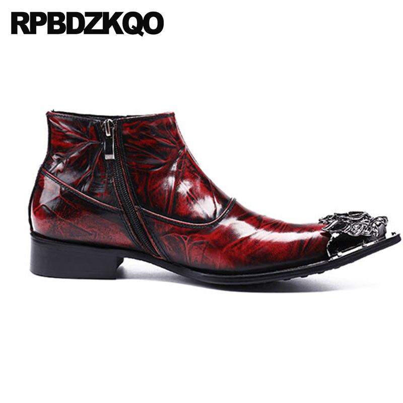 Estrecha Full Punta Botines Metálico Tobillo Borgoña Embellecido Mens Cuero Tamaño Zapatos Vestido Zipper Más Botas Grain Vino Chunky Tinto Formal a8C0Wwq1