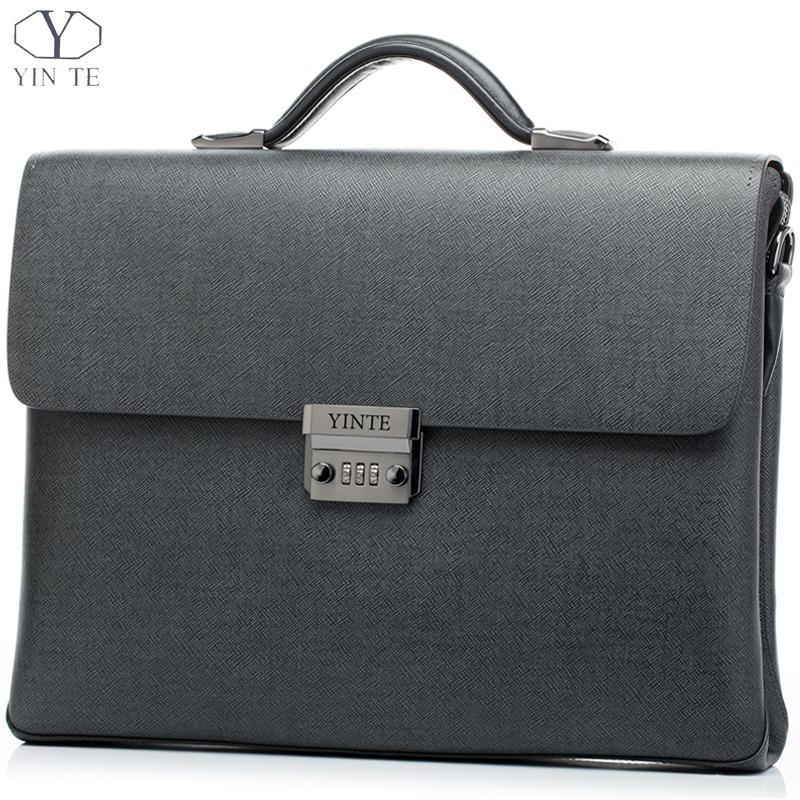 YINTE Gray Black Briefcase Leather Men's Business Office Bags Fashion Laptop Briefcase Shoulder Attache Portfolio Tote T8518-6 yinte leather men s briefcase black bag fashion business messenger totes laptop bag ostrich prints men s portfolio t8518 6