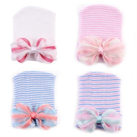 ON SALE 1PCS Newborn Infant Toddler Girl Baby Stripe colorful Bowknot Hospital Hat Comfy Knit Beanie Cap free size 0-6 months 6 colors newborn infant baby toddler boy girl bowknot winter warm soft knit hat kid crochet beanie cap 0 1t