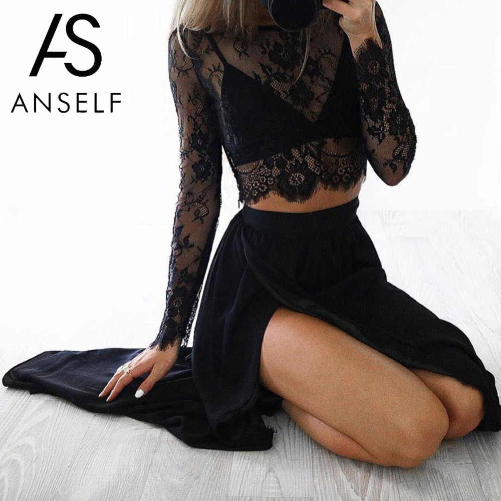 Anself Sexy Kant Top Vrouwen Sheer Floral Lace Blouse O-hals Met Lange Mouwen Mesh Crop Top Hollow Out Lace Shirt Clubwear zwart/Wit