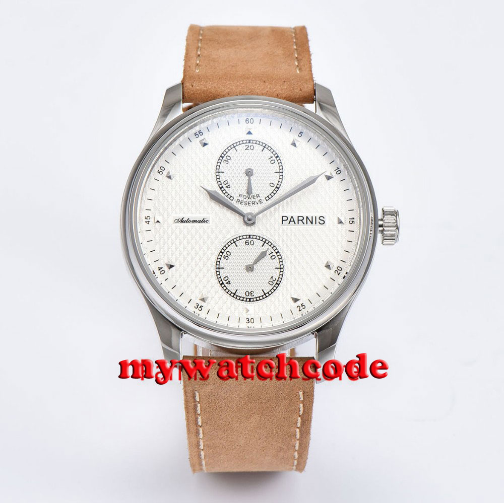43mm parnis white dial leather power reserve ST automatic mens watch P683