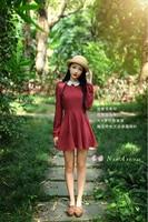 2016 Autumn And Early Spring Korean Version Retro Mori Girl Style Small Fresh Literary Range Woman Base Red Striped Dress