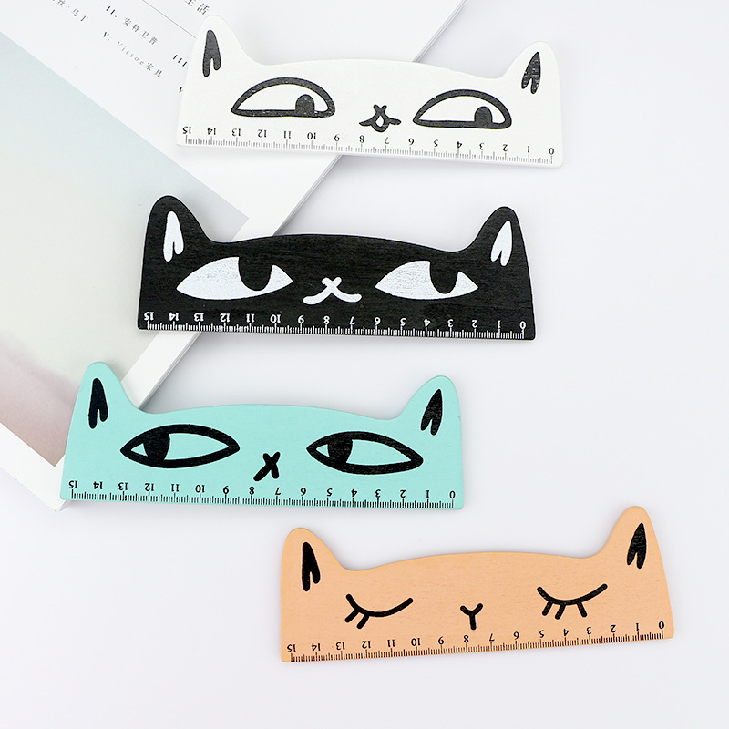 Cute Kawaii Cat Design Ruler Funny Stationery Wooden Rulers Office Accessories School Escolar Kids Study Tool Supplies