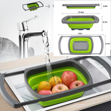 Foldable Fruit Vegetable Washing Basket Strainer  Silicone Colander Collapsible Drainer With Handle Kitchen Tools