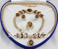 Wholesale price FREE SHIPPING ^^^^Tiger Eye Stone necklace bracelet earring ring set