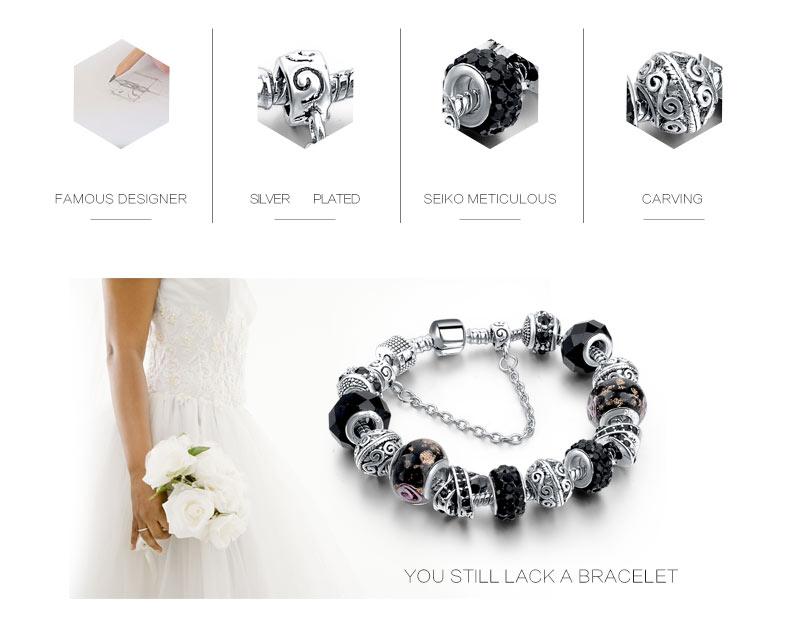 CHICVIE Black Crystal Chain Link Bracelets For Women Female Charm Custom Bracelets & Bangles DIY Silver Color Jewelry SBR160014 4