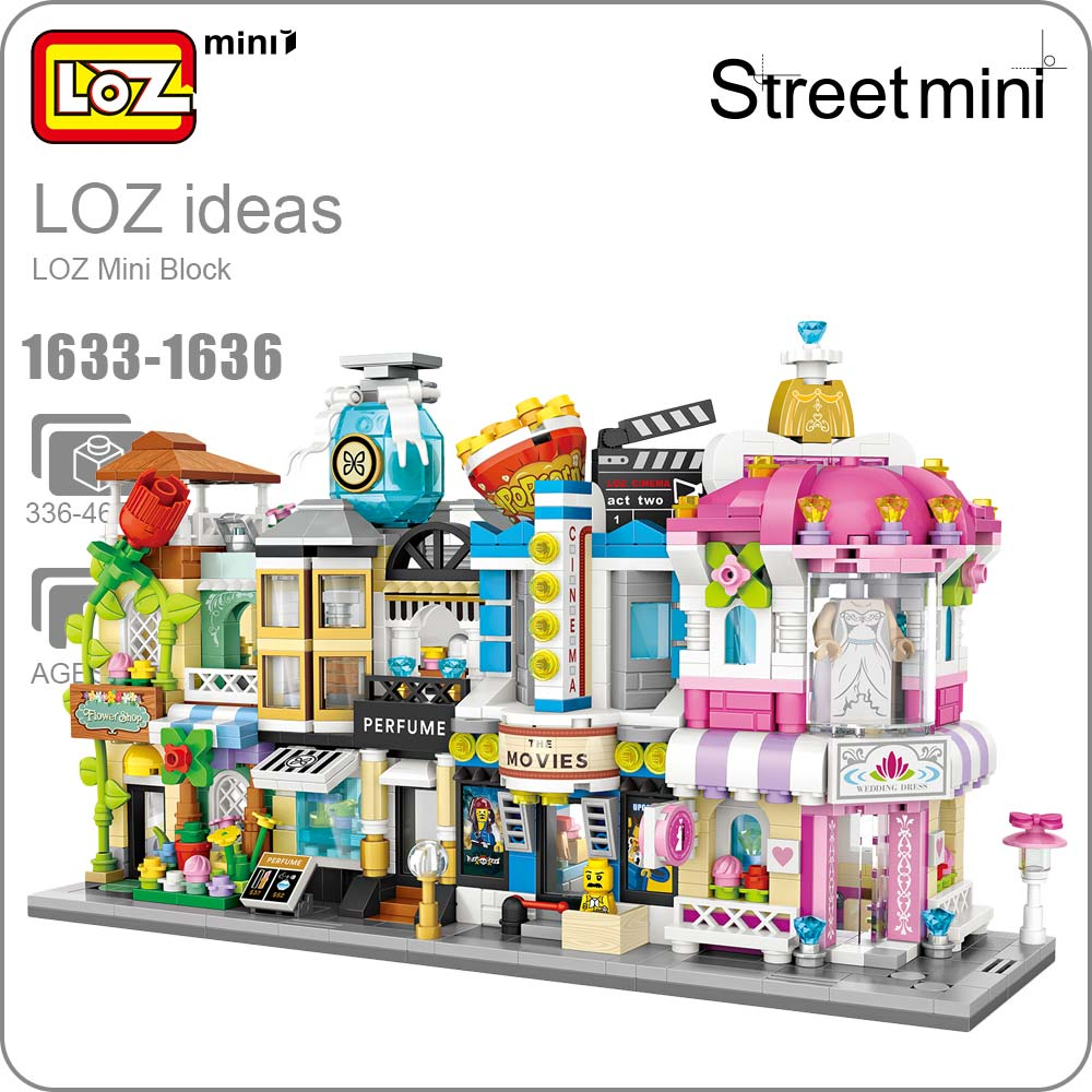 LOZ Mini Block Architecture Model Building Blocks City Series Mini Street Store Perfume Shop Cinema House Toy Children 1633-1636