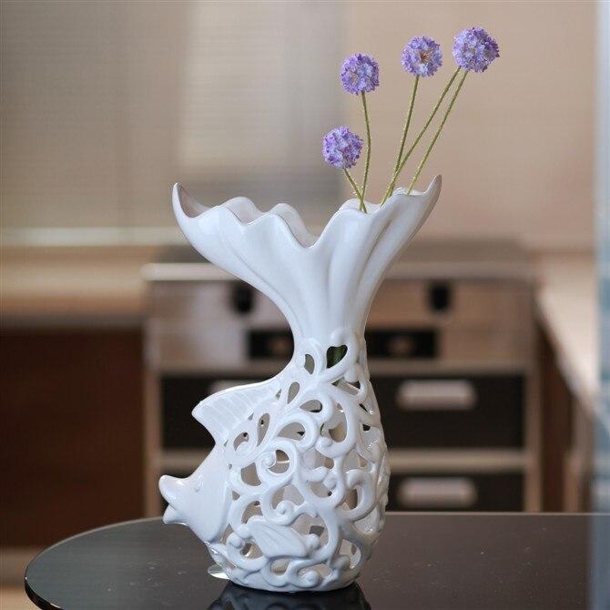 Contratto vaso bianco Puro scava fuori carpa fiore di ceramica, fiore di ceramica di arte decorativa porcellanaContratto vaso bianco Puro scava fuori carpa fiore di ceramica, fiore di ceramica di arte decorativa porcellana