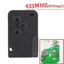 送料無料 (10 ピース/ロット) 交換リモートカードルノー 3 ボタンmegane lagunaスマートカードとpfc7947 チップ 433mhz