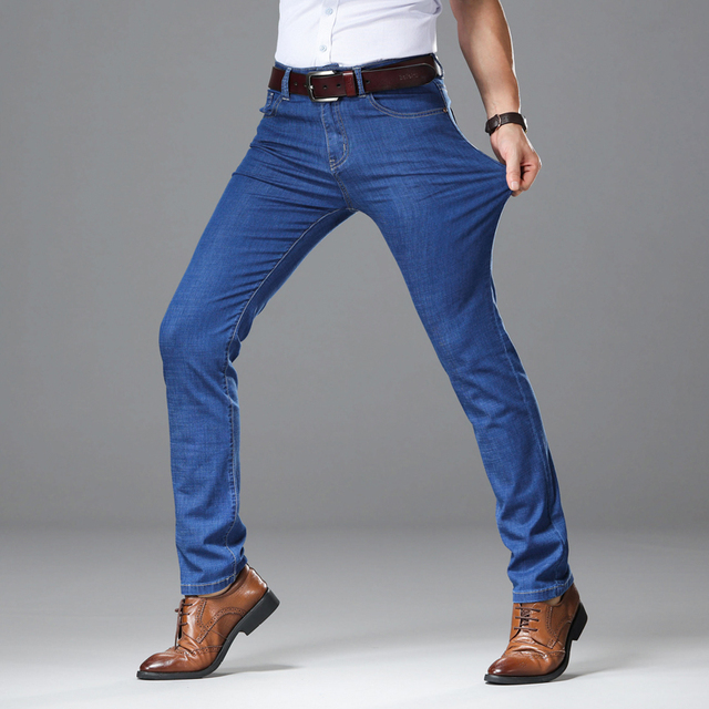 2019 Light Jeans Men Male Straight Fit Pants Classic Jeans Men Denim Elasticity Fashion Trousers Utr Thin Pants Light Blue