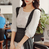 Dabuwawa Three Quarter Sleeve Chiffon Pearls Blouse