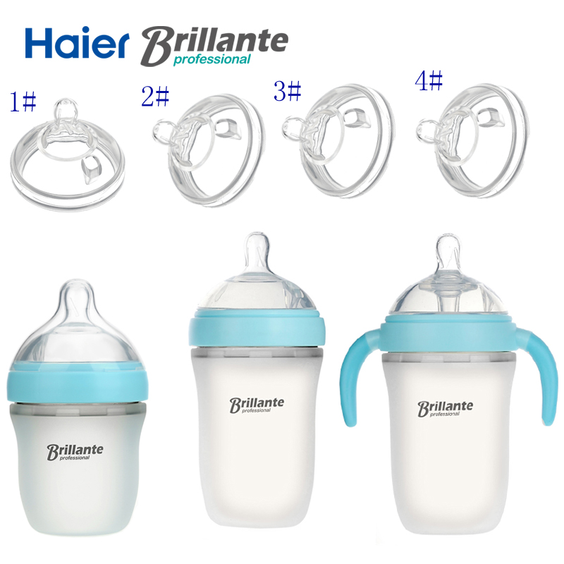 Haier Brillante Newborn Baby Infant Nursing Milk Feeding Silicone Bottle Silica Wide Month Silicone Nipple Pacifier Drink Juice infant feeding and morbidity