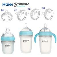 Haier Brillante Sơ Sinh Baby Dưỡng Trẻ Sơ Sinh Bú Sữa Silicone Chai Silica Rộng Tháng Silicone Núm Vú Núm Vú Uống Nước Trái Cây