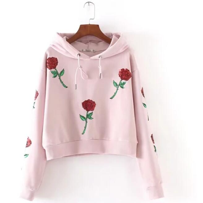 2017 New women hoodie rose Embroidery Sequins hooded autumn long sleeved pink fashion leisure tops