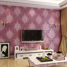 QIHANG European Style Luxury 3D Damascus Pearl Powder Non-woven Wallpaper Roll Purple&Red Color 0.53m*10m=5.3m2