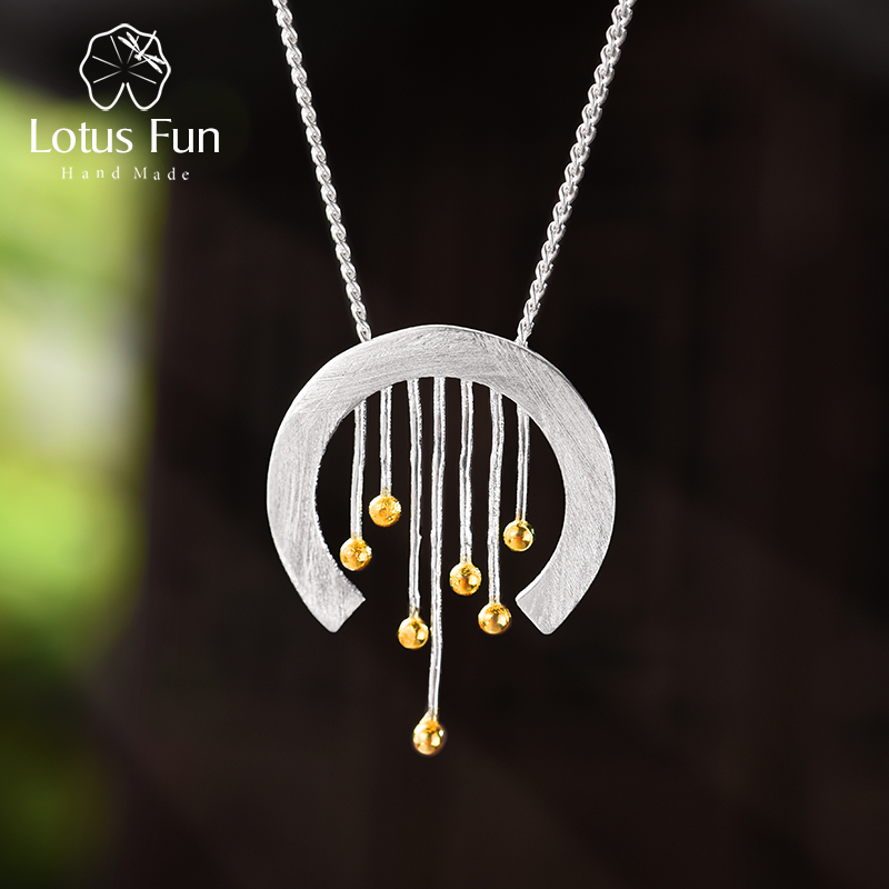 Lotus Fun Real 925 Sterling Silver Handmade Fine Jewelry Oriental Element Vintage Curtain Pendant Without Necklace For Women