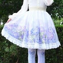 Сладкая Гортензия напечатанная короткая юбка Мори для девушки линия эластичная талия Skater юбка для женщин