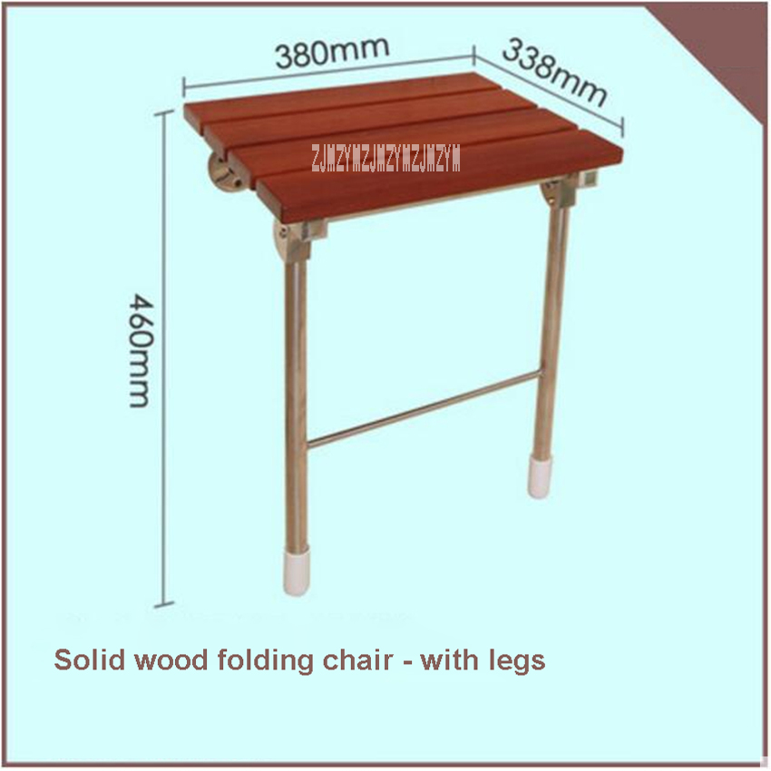 High quality Bath Shower Wall Chair Home Bathroom Stool Household Wall Mounted Shower Seat Solid Wood Folding Chair With Legs