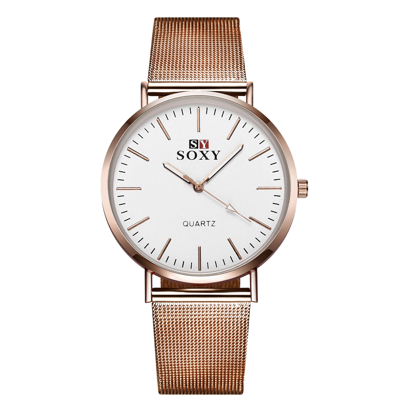 2017 New Hot Sell Brand SOXY Rose Gold Wrist Watch Fashion Designer Ladies Watch Simple Style Women Quartz Watches Horloge Dames tshing ray fashion women rose gold mirror cat eye sunglasses ladies twin beams brand designer cateye sun glasses for female male