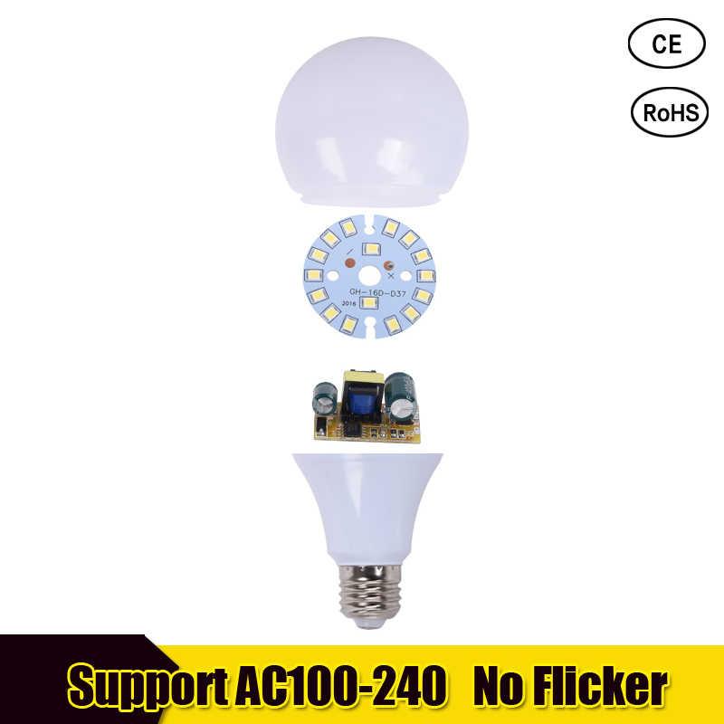 E27 lampe à LED E14 LED ampoule Lampada LED 110V 220V 18w 15w 12w 9 w-3 w Bombillas LED s blanc chaud/froid pour la maison lustres lampe de Table