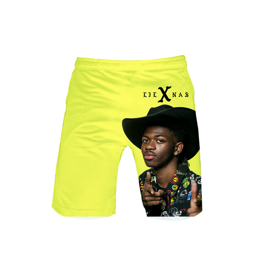 Rapper Lil Nas X Beach Board Shorts 3D Print Summer Casual Men Shorts Lil Nas X Cool Fashion Shorts Have Child Size Streetwear