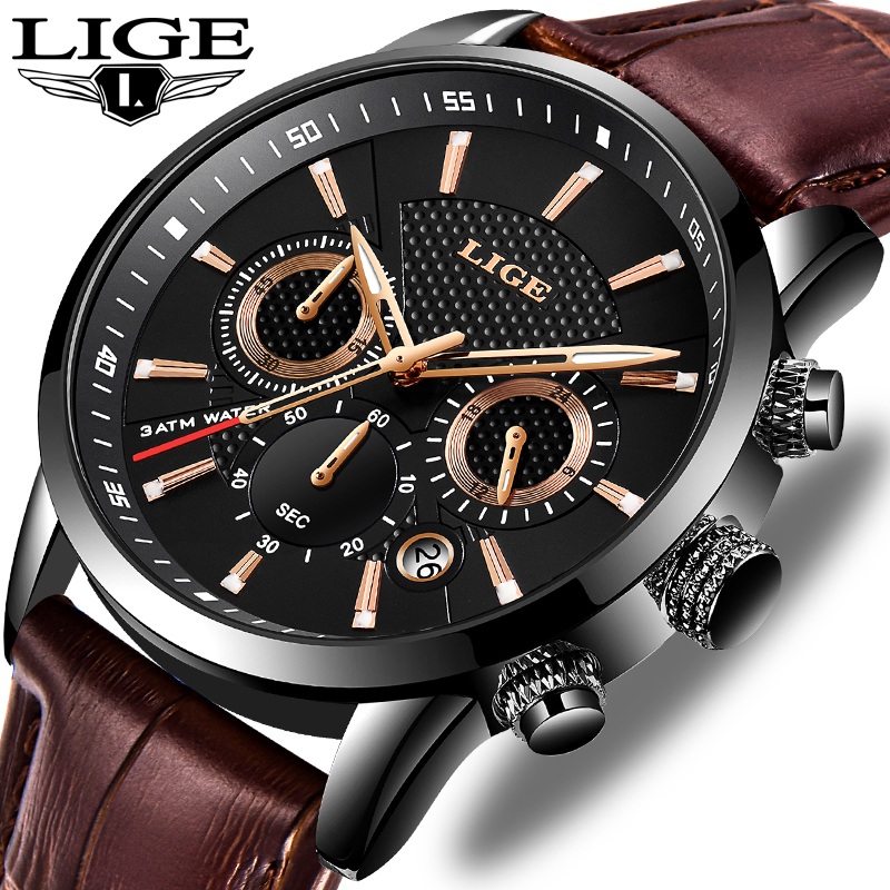 LIGE New Mens Watches Top Brand Luxury Military Sport Watch Men Leather Waterproof Clock Quartz Wristwatch