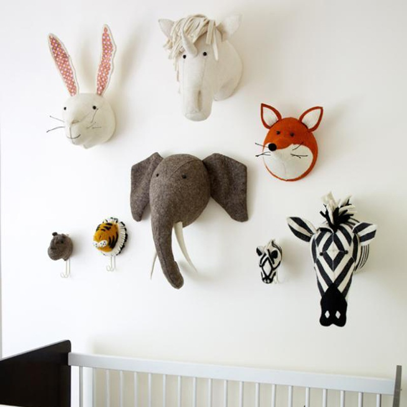 Bedroom Decoration Animal Rabbit Swan Monkey Horse Frog Head Wall Mount Stuffed Plush Toys Felt Artwork
