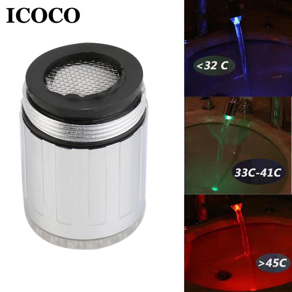 ICOCO Novelty Temperature Sensor LED Light Water Facet Tap Glow Lighting Shower Spraying Faucet For Kitchen Bathroom Drop Ship