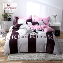 Slowdream Kiss Pattern Bedspread Pink Flat Sheet Pillowcase Duvet Cover Set Double Bed Linen Set Home Textiles Adult Queen King джинсы kiss pink kiss pink ki011ewcmag0