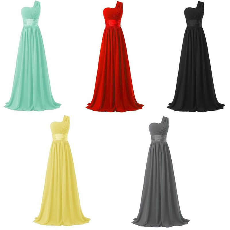 Coral Colored Bridesmaid Dresses One Shoulder Chiffon Burgundy ...