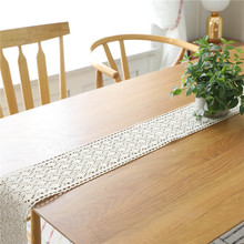 Countryside Handmade Crochet Lace Table Runner Flag Linen Embroidered Tablecloth TV Cabinet Wedding Party Diningroom Home Decor